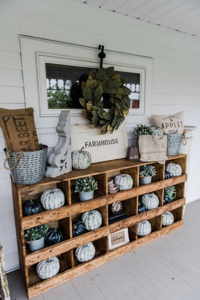 Farmhouse Porch Decorating Ideas - Farmhouse Wooden Curio Porch Cabinet - Harpmagazine.com