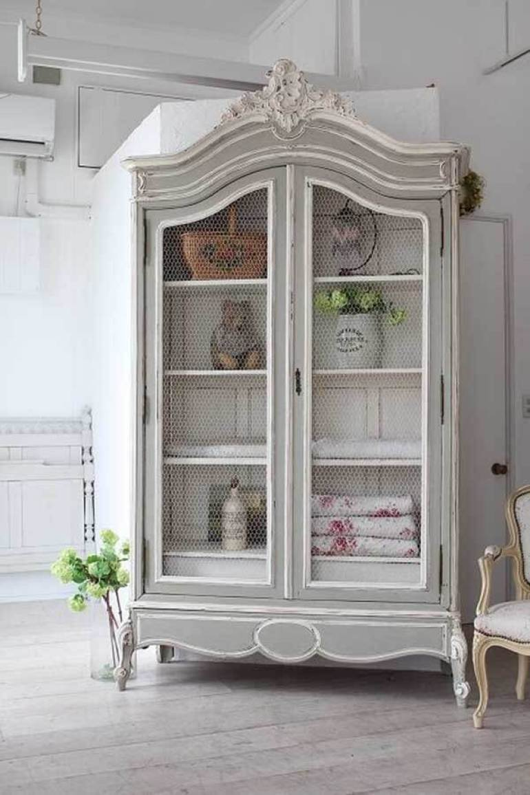 French Country Decor Ideas - Painted and Antiqued Shabby Chic Armoire - Harpmagazine.com