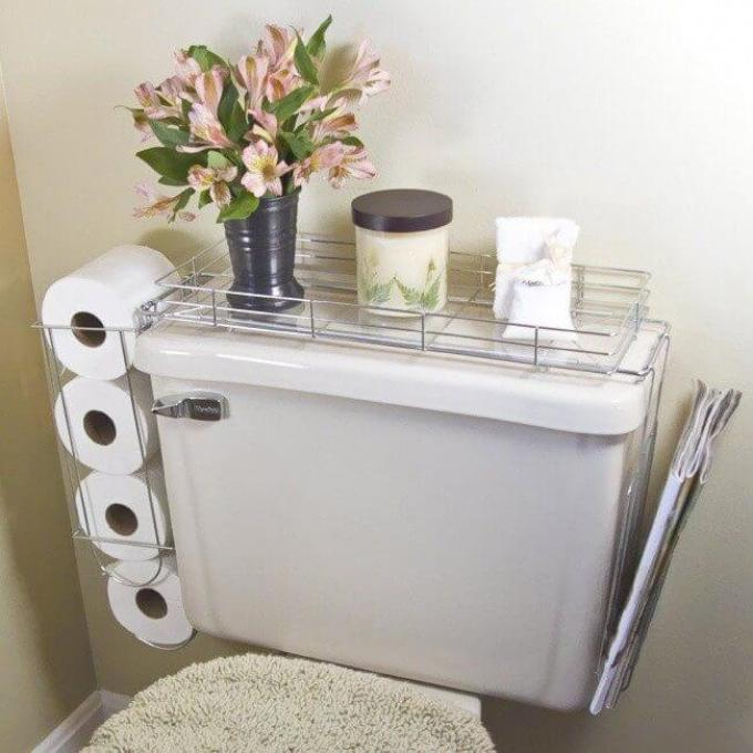 Storage Ideas for Small Spaces - Commode Shelf Keeps the Necessities Close By - Harpmagazine.com