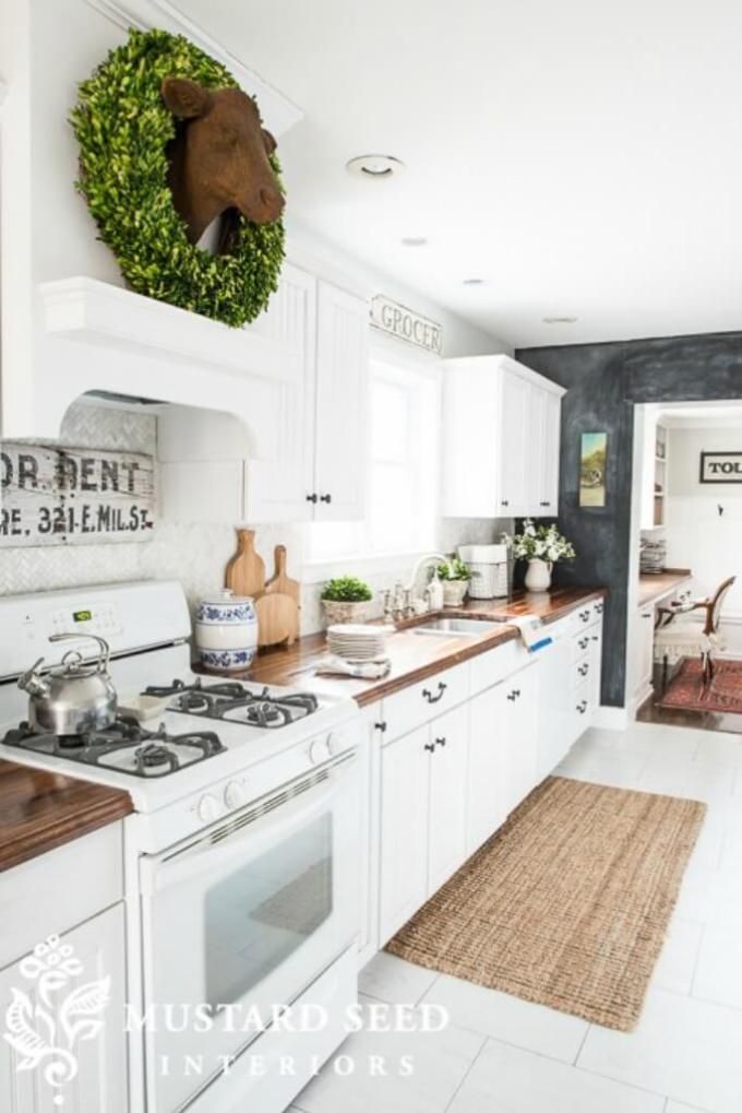 Farmhouse Kitchen Decor Design Ideas - Country White Cabinetry & Kitchen Tiles - harpmagazine.com