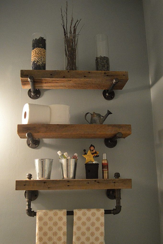 Rustic Bathroom Decor Ideas - Heavy Plank Shelves with Industrial Hardware - harpmagazine.com