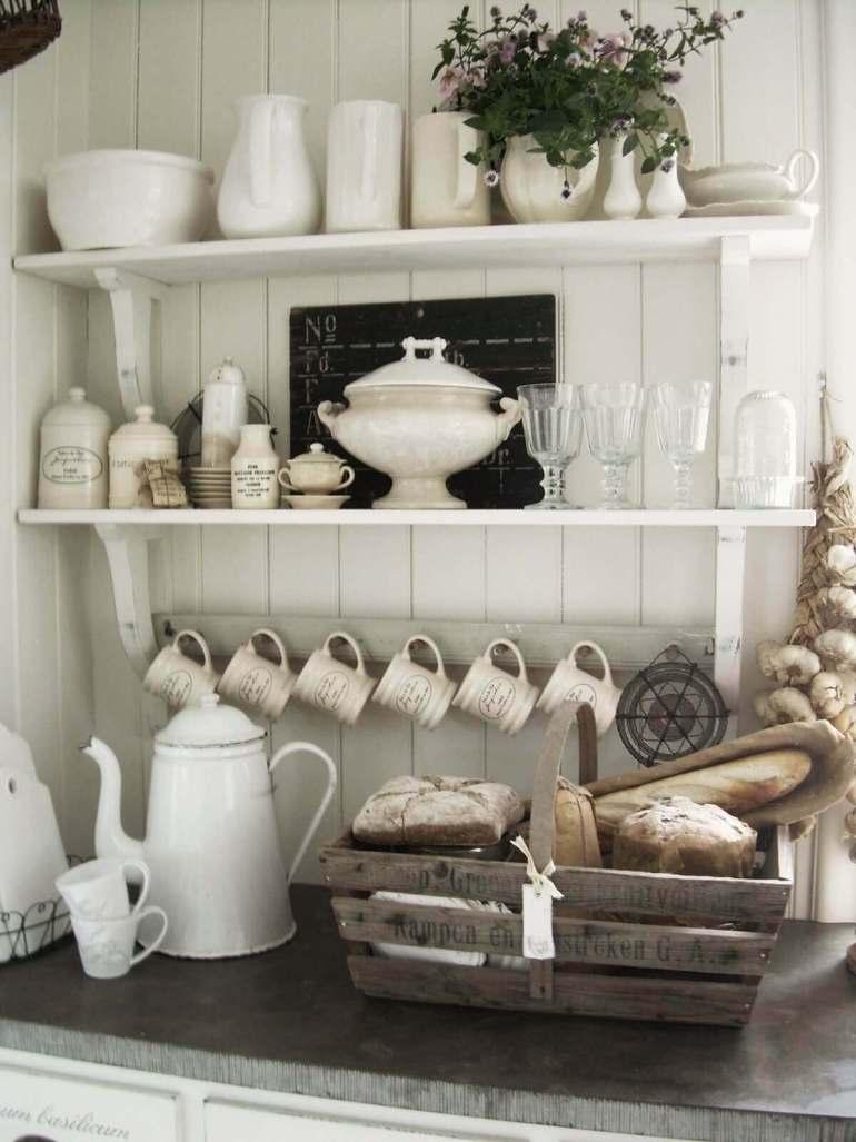French Country Decor Ideas - French Kitchen Exposed Shelving Crockery Display - Harpmagazine.com
