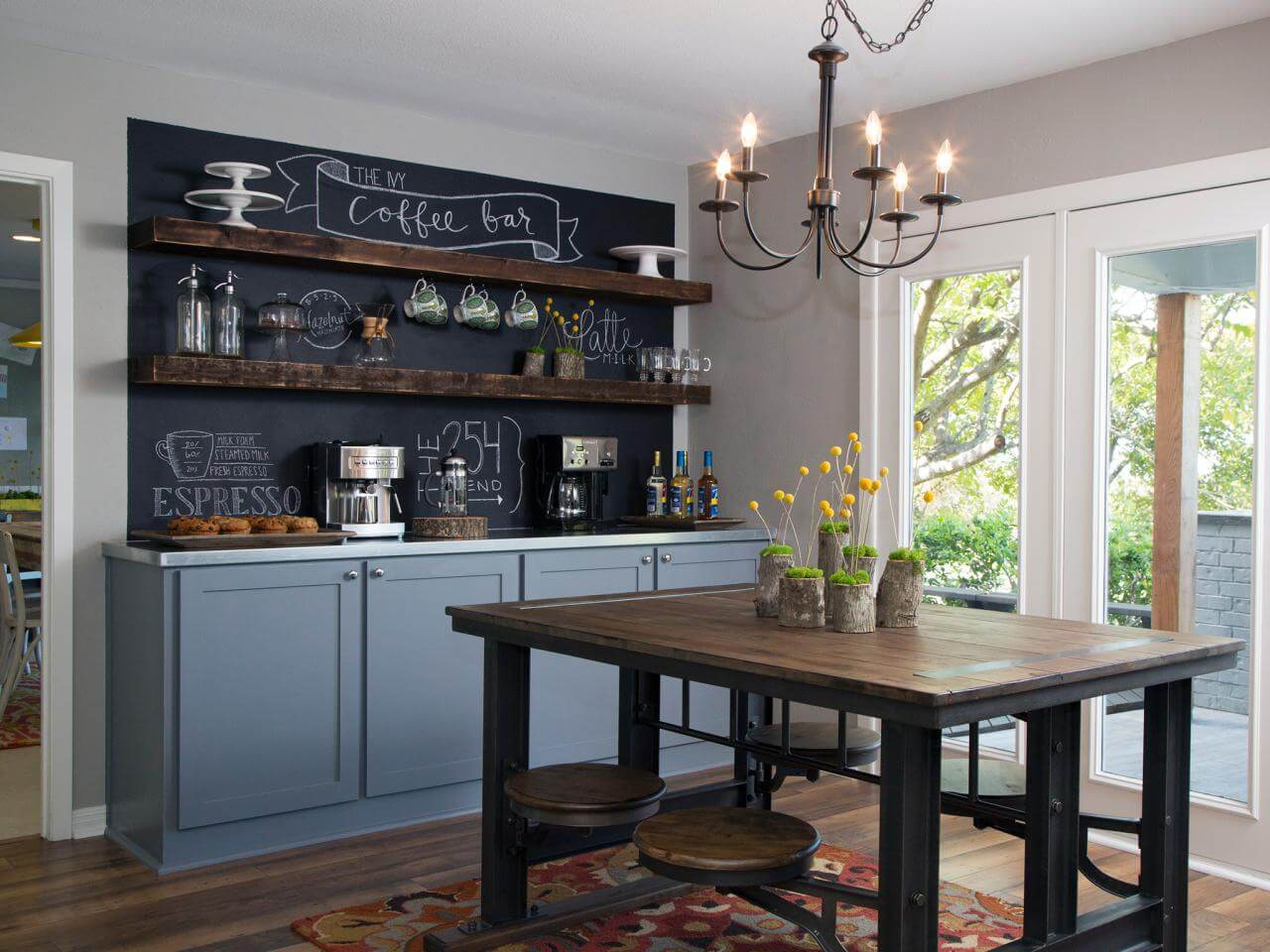 31. Rustic Chalkboard Kitchen Accent Wall