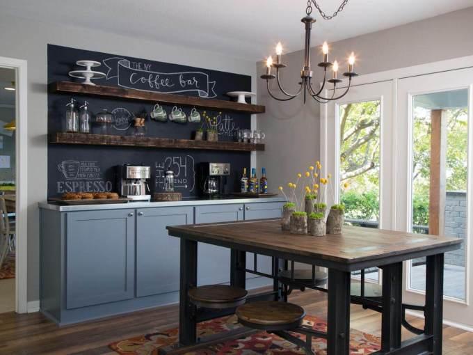 Farmhouse Kitchen Decor Design Ideas - Rustic Chalkboard Kitchen Accent Wall - harpmagazine.com