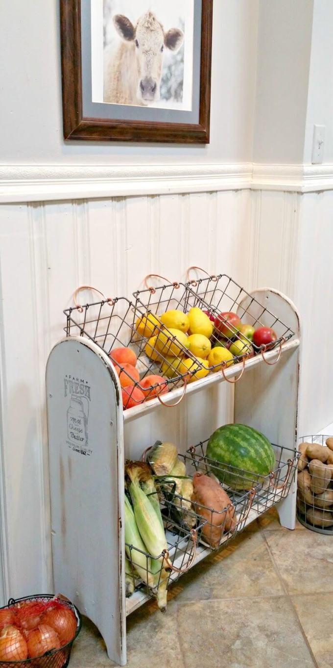 Farmhouse Kitchen Decor Design Ideas - Antique Produce Shelf with Wire Baskets - harpmagazine.com