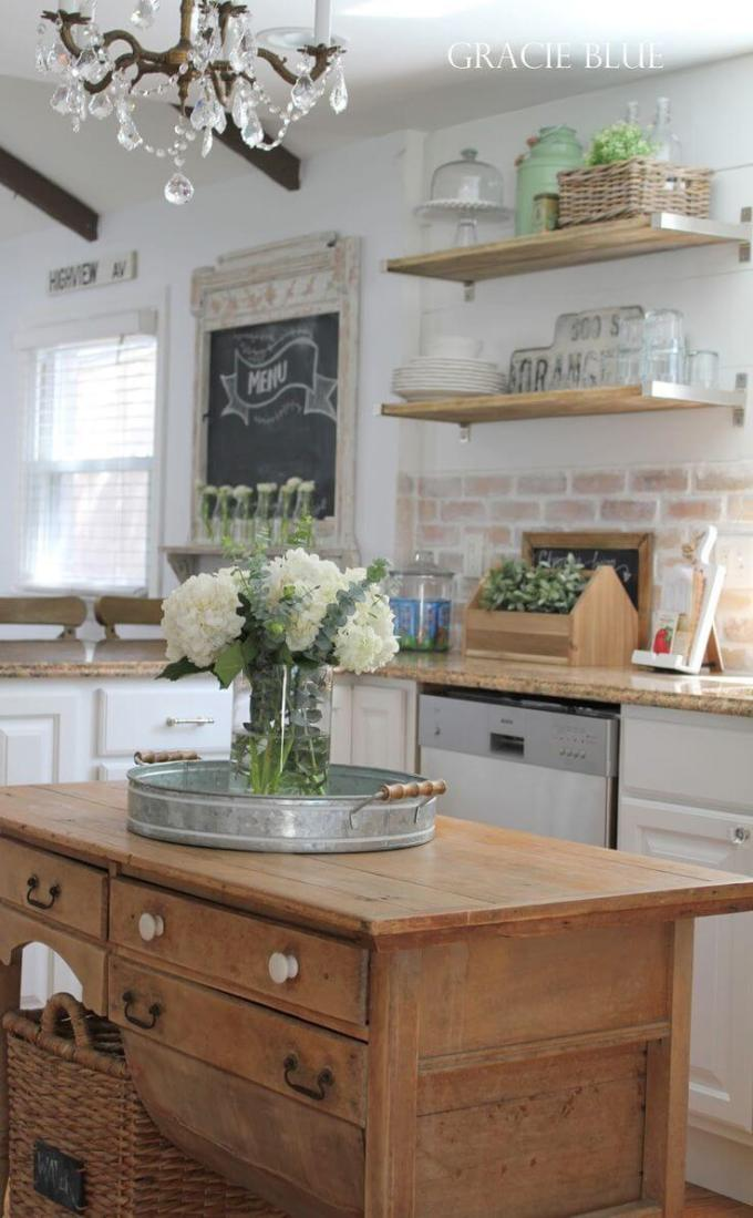Farmhouse Kitchen Decor Ideas - Vintage Desk as Farmhouse Kitchen Island - harpmagazine.com