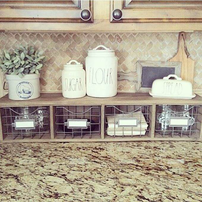 Farmhouse Kitchen Decor Design Ideas - Counter Organizer with Metal Basket Storage Drawers - harpmagazine.com