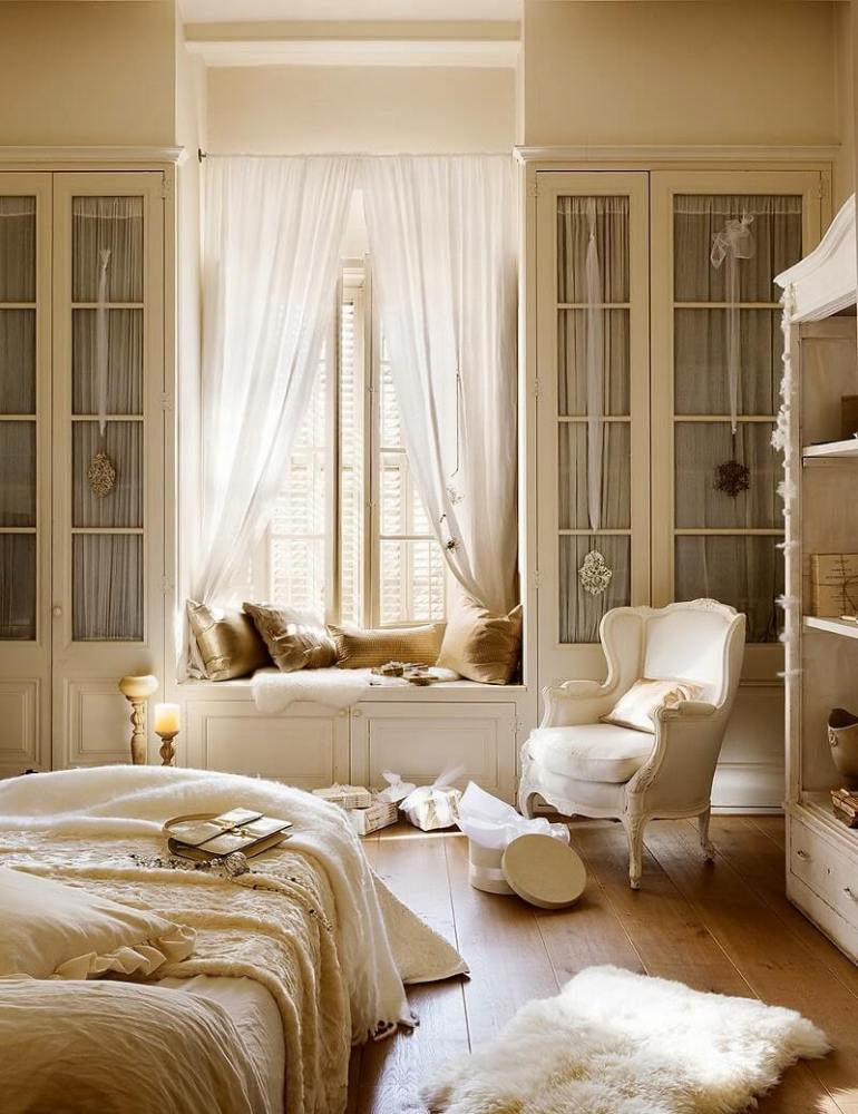 French Country Decor Ideas - Romantic White Bedroom with a Window Seat - Harpmagazine.com