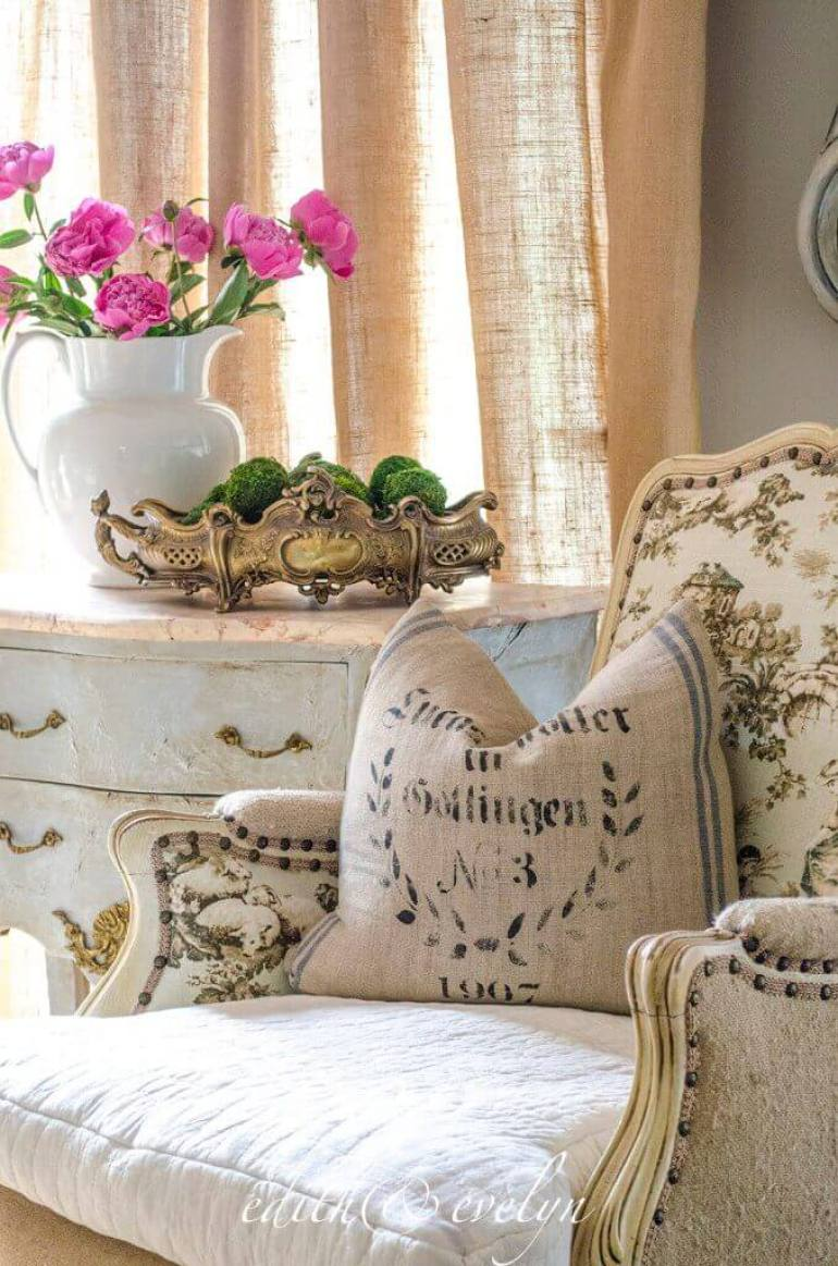 French Country Decor Ideas - Toile and Rustic Linen Chair - Harpmagazine.com