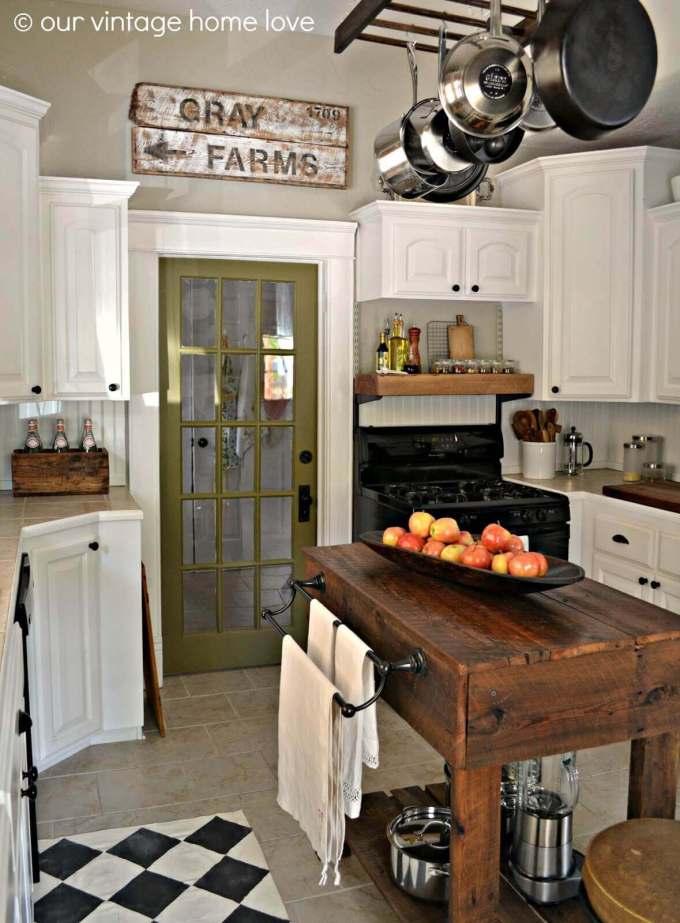 Farmhouse Kitchen Decor Design Ideas - Dark Wood Work Bench Kitchen Island - harpmagazine.com
