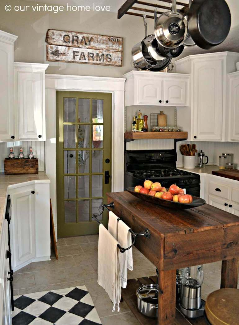 Farmhouse Kitchen Decor Design Ideas - Dark Wood Work Bench Kitchen Island - harpmagazine.com