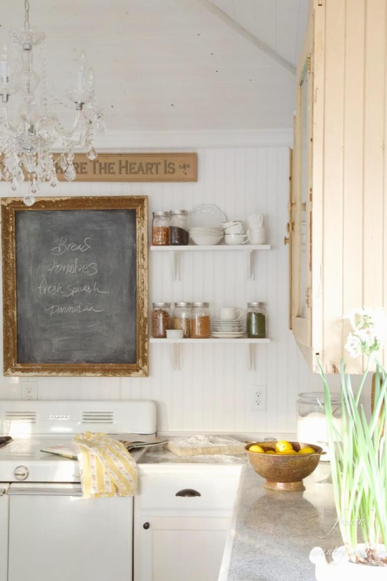 French Country Decor Ideas - Eclectic French Kitchen with Rustic Chalkboard Sign - Harpmagazine.com