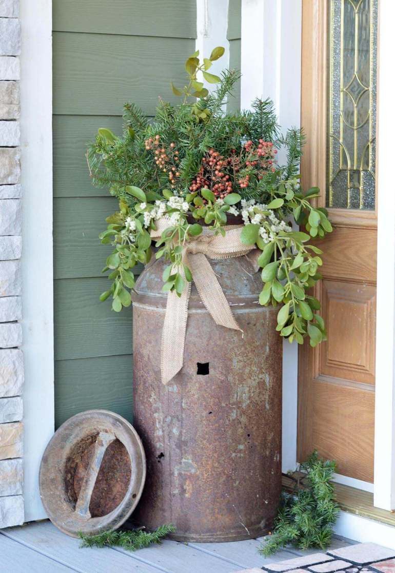 Front Door Flower Pots Ideas - Antique Milk Can Porch Planter harpmagazine.com