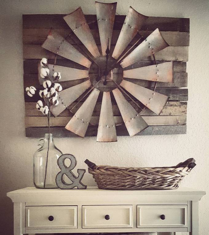 Rustic Wall Decor Ideas - Over-sized Windmill and Barn Wood Wall Clock - harpmagazine.com