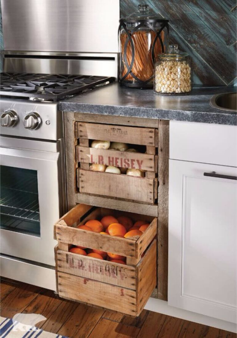 Farmhouse Kitchen Decor Design Ideas - Farmer's Market Crate Produce Storage Drawers - harpmagazine.com