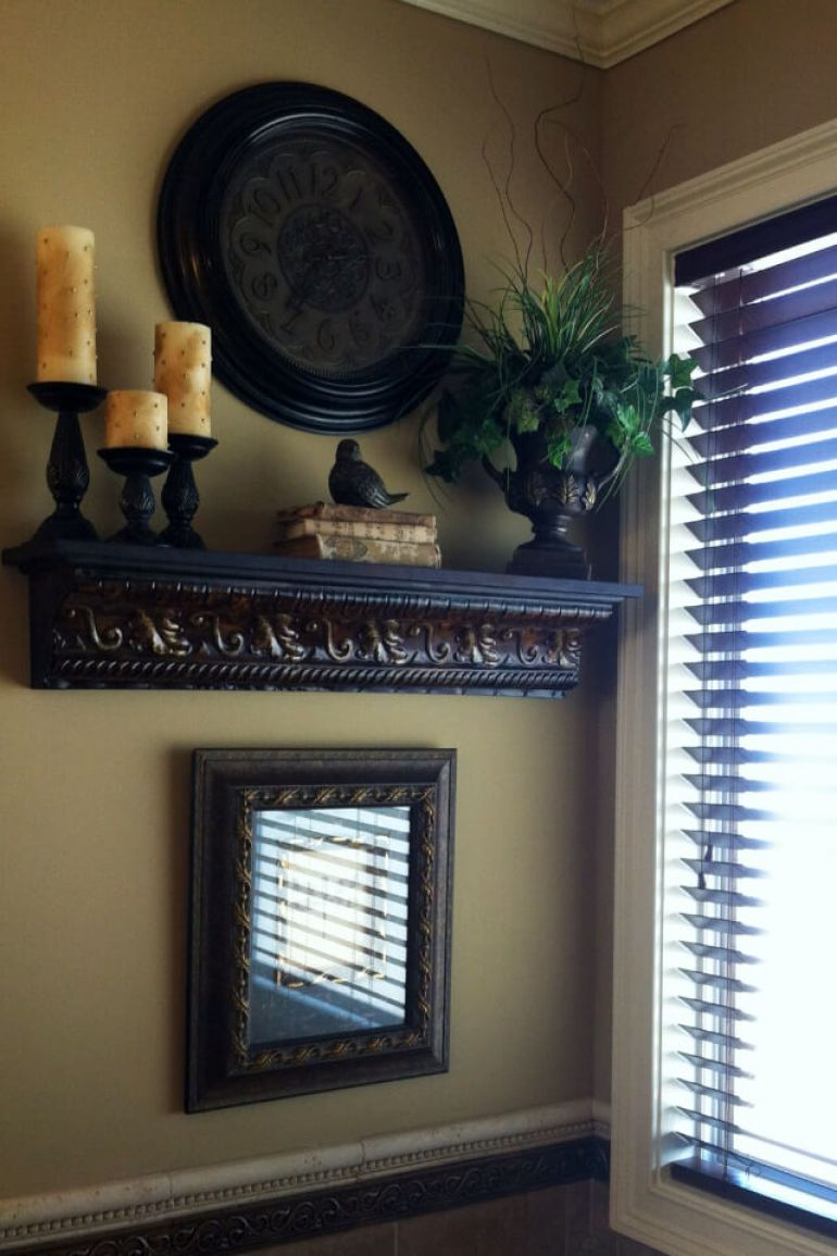 Rustic Wall Decor Ideas - Old-world Style Rustic Shelf Display - harpmagazine.com