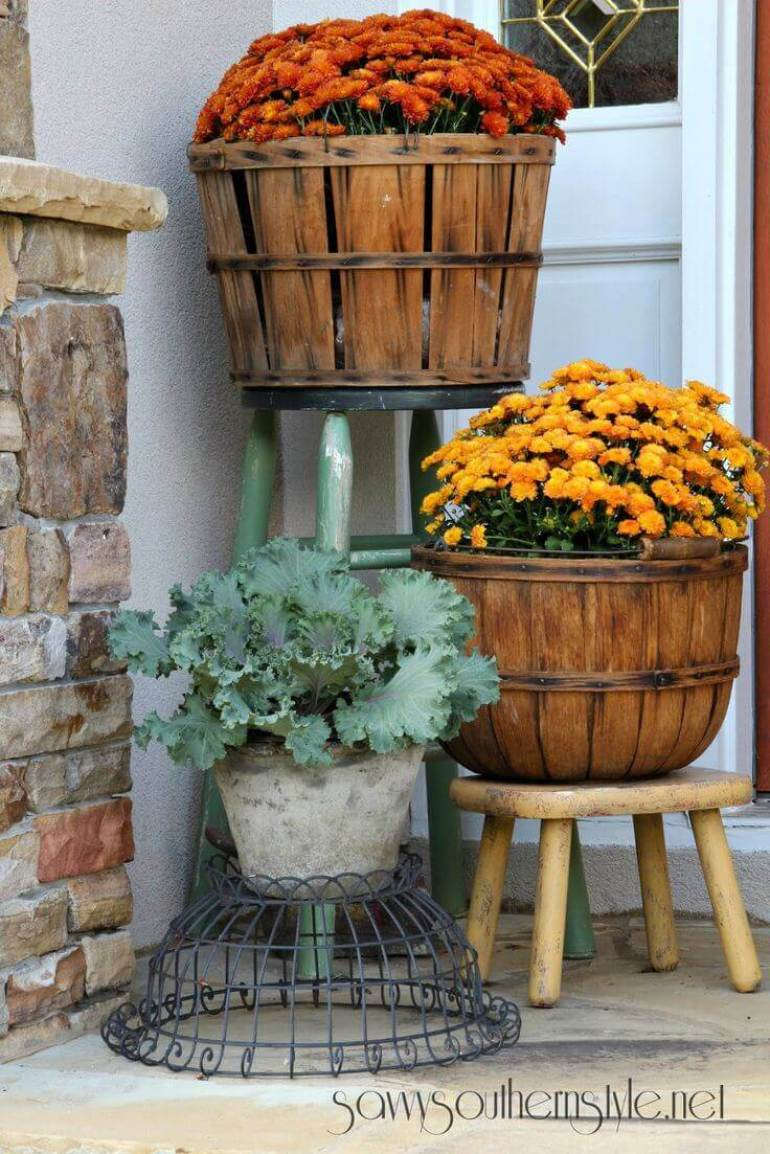Front Door Flower Pots Ideas - Fruit Basket Fall Mum Planters - harpmagazine.com