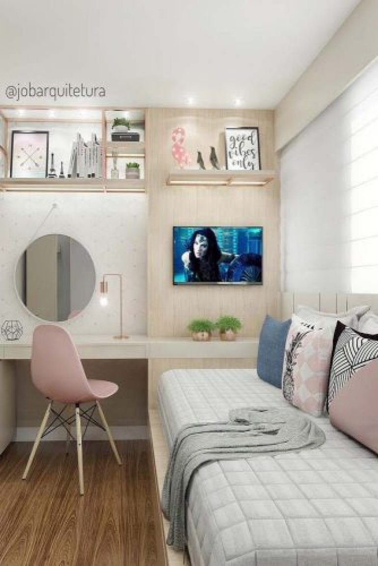 Teen Girl's Bedroom Ideas - Modern Teen Bedroom With Throw Pillows - harpmagazine.com