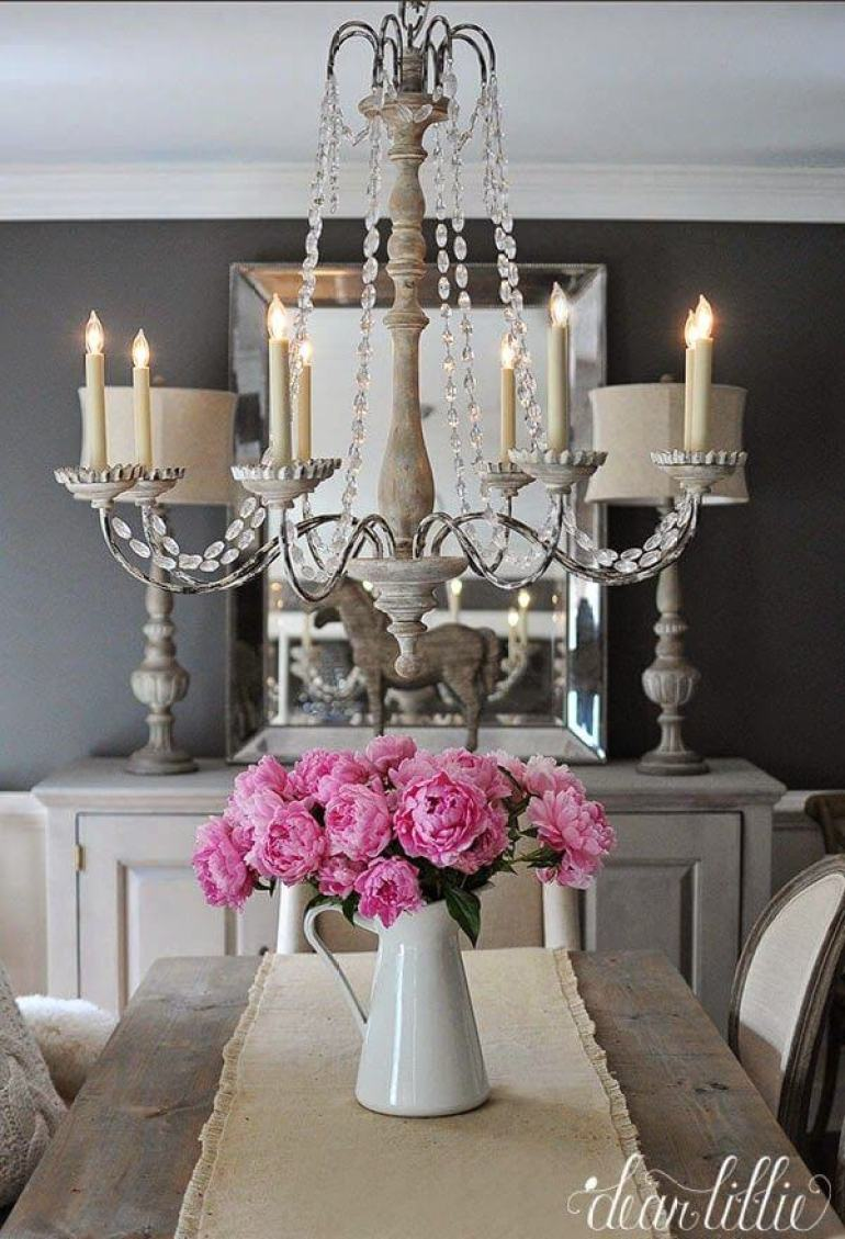 French Country Decor Ideas - Elegant Grey Dining Room and Colorful Peonies - Harpmagazine.com