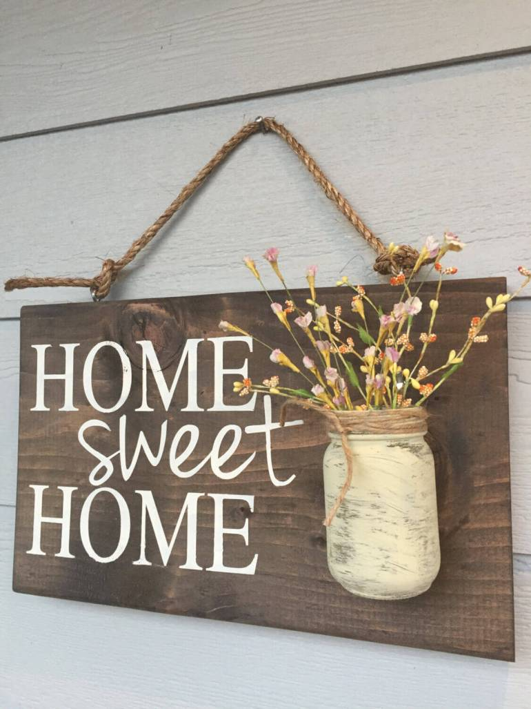 Farmhouse Porch Decorating Ideas - Prairie Home-Sweet-Home Sign & Flower Holder - Harpmagazine.com