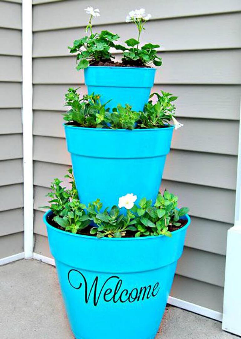 Front Door Flower Pots Ideas - Tiered Front Door Flower Pot Welcome Decoration - harpmagazine.com