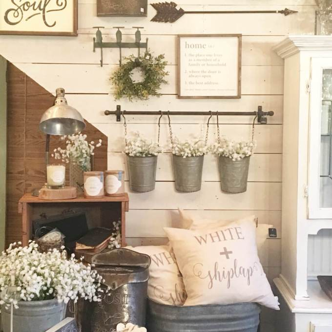 Rustic Wall Decor Ideas - Wall Collage with Reclaimed Metal Farm Fixtures - harpmagazine.com