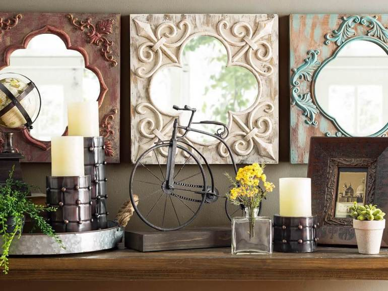 Rustic Wall Decor Ideas - New Chalk Painted Mirrored Wall Tiles - harpmagazine.com