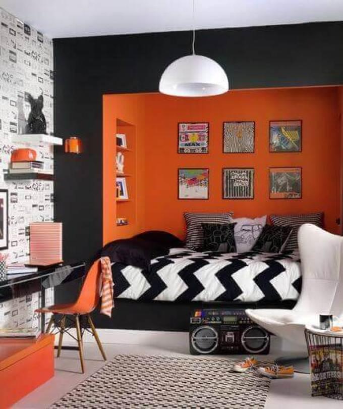 Boys Bedroom Ideas Black and Orange Cubicle - Harppost.com