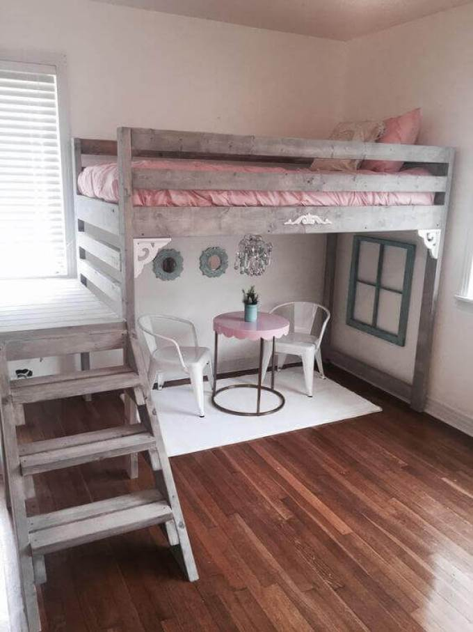 Girls Bedroom Ideas with Vintage Loft Bed - Harppost.com