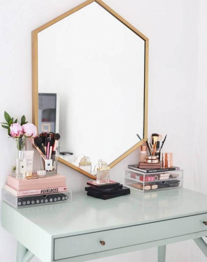Makeup Room Ideas Hexagonal Vanity Mirror with Wooden Accent - Harppost.com