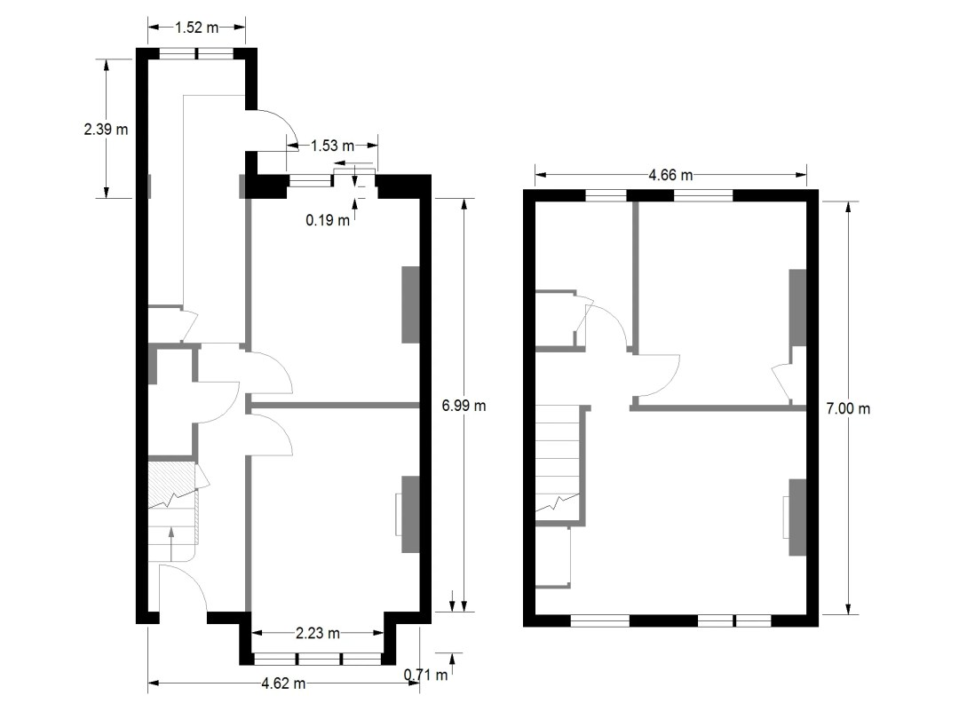 Floor plans showing the measurements clearly