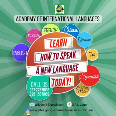 E-Flyer design for the Academy of International Languages, Legon.