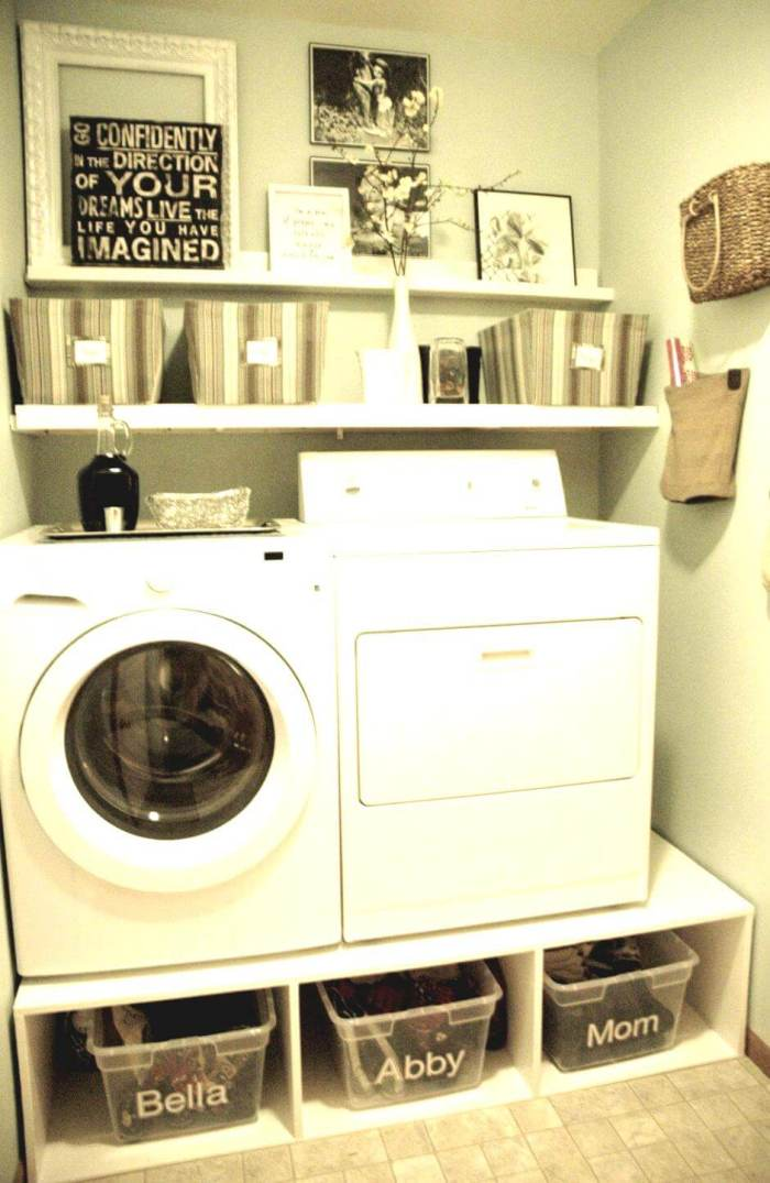 Very Small Laundry Room Ideas - Labeled Plastic Containers for A More Organized Laundry Room - Harptimes.com