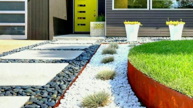 Bewitching Pebbles Modern Front Yard Landscaping Ideas - Harptimes.com