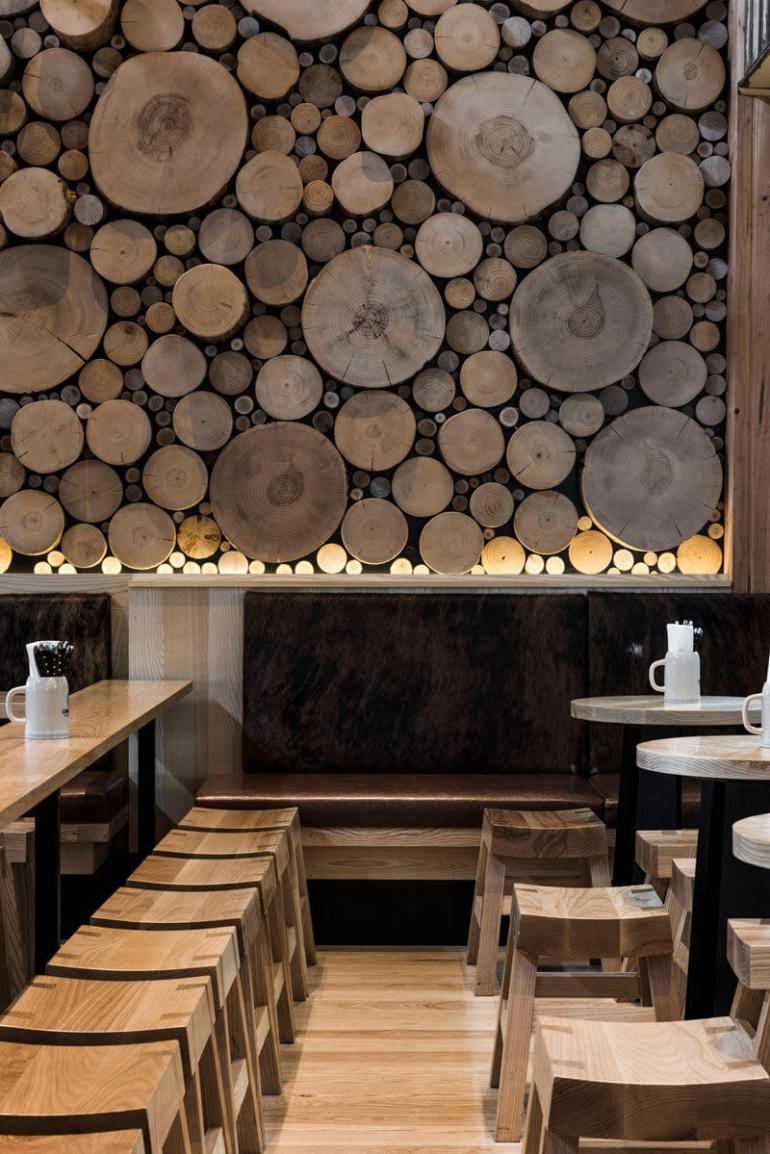 Cheap Accent Wall Ideas with wood Show the Logs Off - Harptimes.com