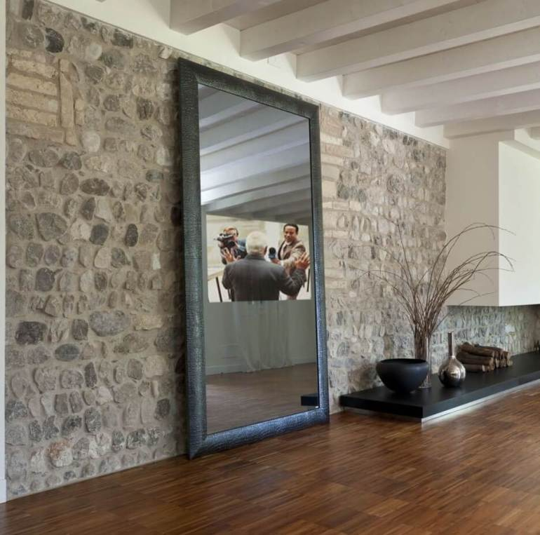 Stone Accent Wall Ideas - Create a Bigger Room with Mirror- Harptimes.com