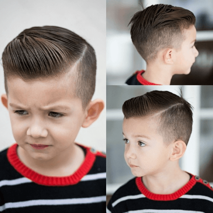 Faded Kids Hairstyle With Side-Part - Harptimes.com