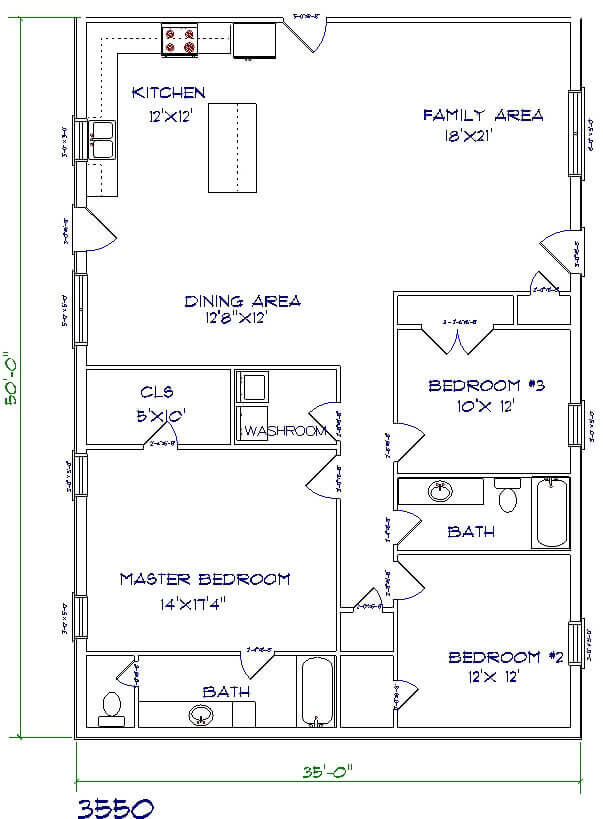 Barndominium Floor Plans - 3. Simple House with Open Kitchen Style