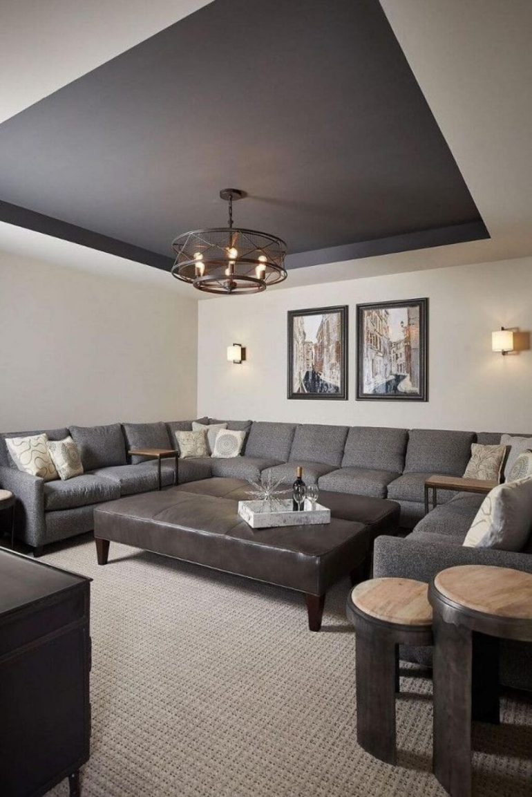 cheap basement ceiling ideas - 16. Modern Gypsum Ceiling for Basement - Harptimes.com