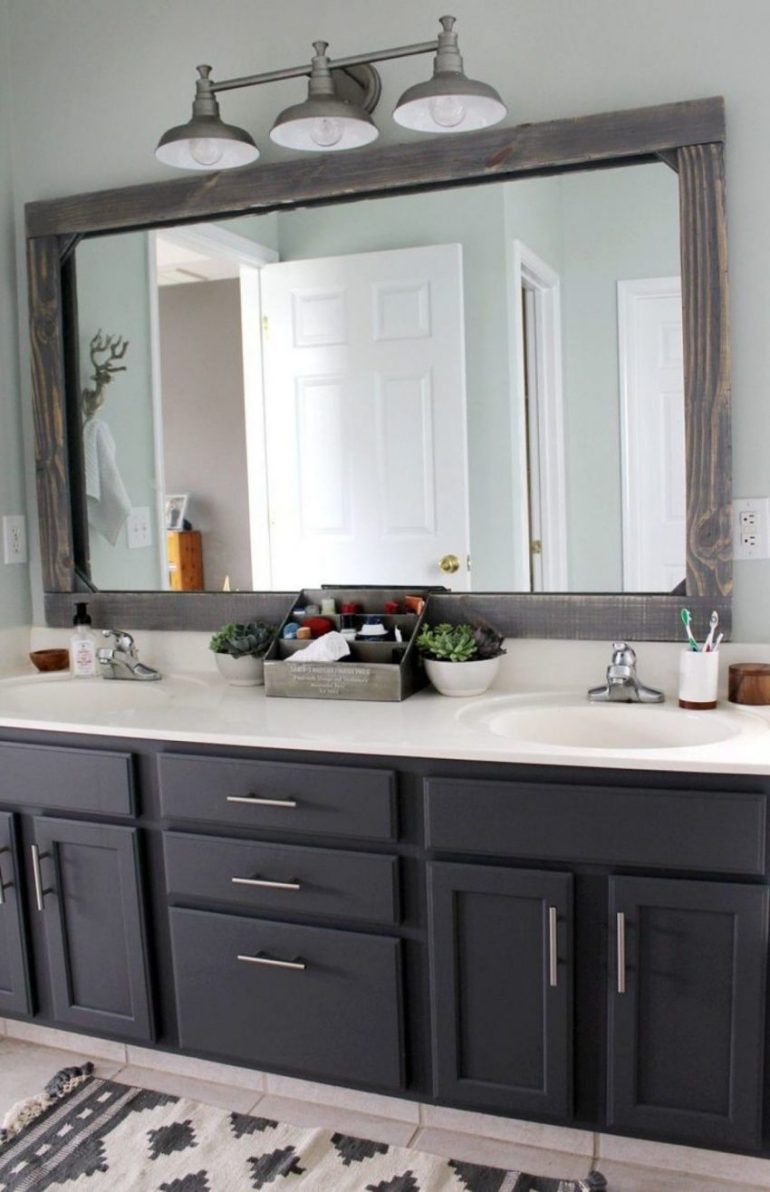 9. Rustic Frame for Bathroom Mirror Ideas - Harptimes.com