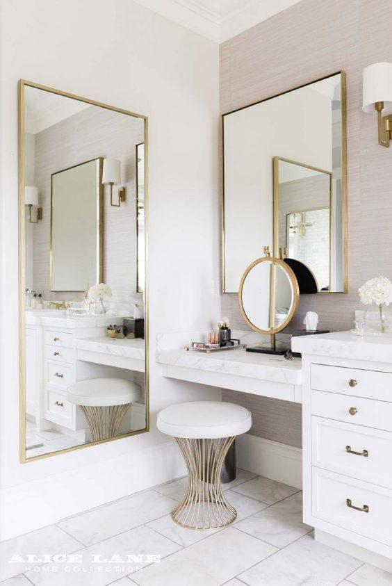 Bathroom Mirror Ideas 16. Ivory Color Master Bathroom - Harptimes.com