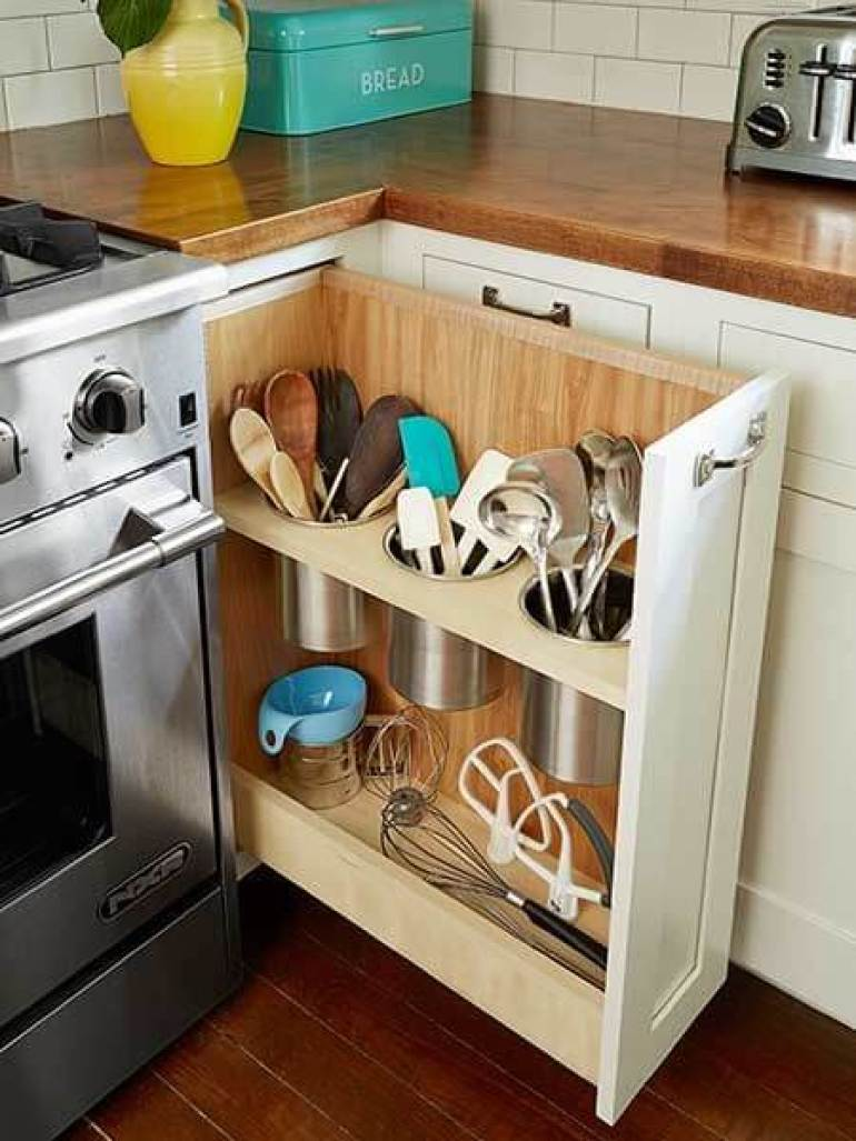 country kitchen decor ideas - 9. Sliding Kitchen Storage for Tiny Kitchen - Harptimes.com