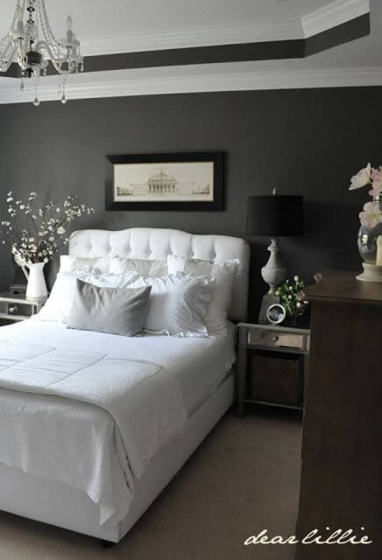 9. Dark Grey Painted in Master Bedroom Ideas - Harptimes.com