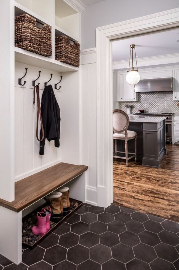 garage mudroom ideas - 18. Mudroom With Black Hexagonal Flooring - Harptimes.com