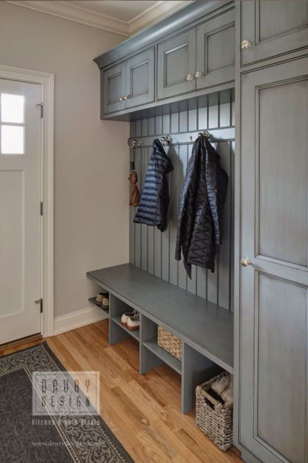 laundry mudroom ideas - 7. Gray Mudroom Storage with Cabinets - Harptimes.com