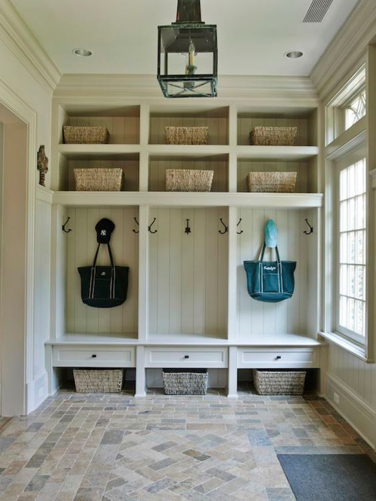 10. Classic Mudroom Ideas with Polished Built-In Unit