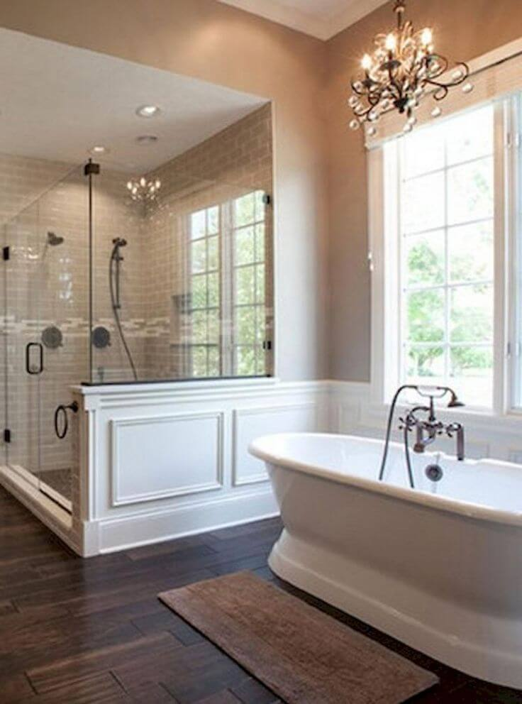A Cast Iron Double-Ended Pedestal Tub in Master Bathroom Ideas