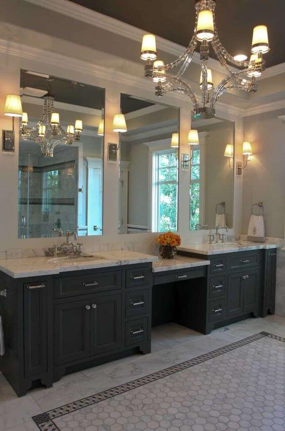 Antique Chandelier and Triple Mirror Vanity Master Bathroom Ideas - Harptimes.com