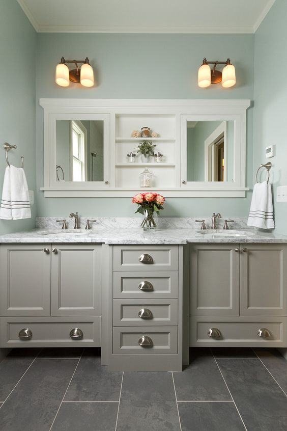 Bathroom Cabinet Ideas Gray Bathroom Cabinet with Mint Green Wall - Harptimes.com