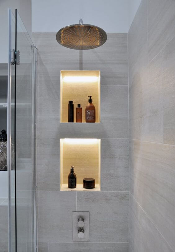 Bathroom Lighting Ideas Yellow Lighting in the Shelves - Harptimes.com